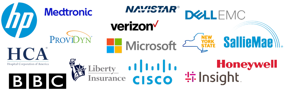 Trusted by: verizon, hp, microsoft, cisco, libertymutual, honeywell, hcahealthcare, emcdell, medtronic, navistar, salliemae, insight, providyn