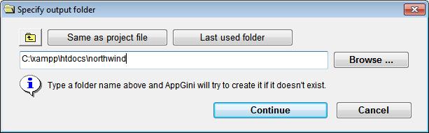 [Specif output folder] window